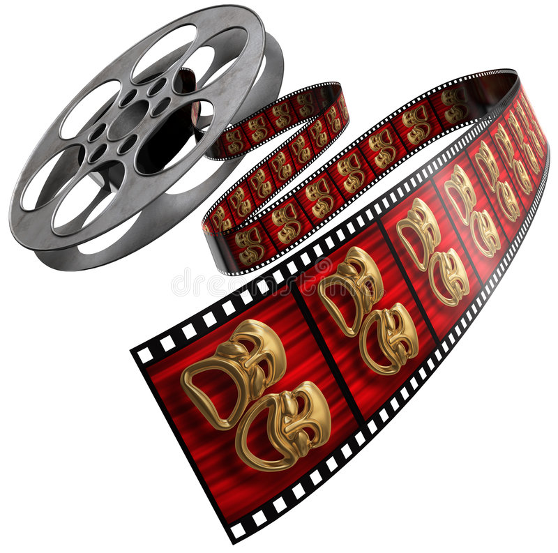 Movie Reel. Movie film reel isolated on a white background with comedy/tragedy masks on the celluloid royalty free illustration