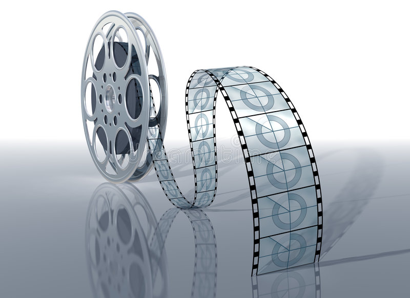 Movie reel. Illustration of a movie reel and film on a shiny surface stock illustration