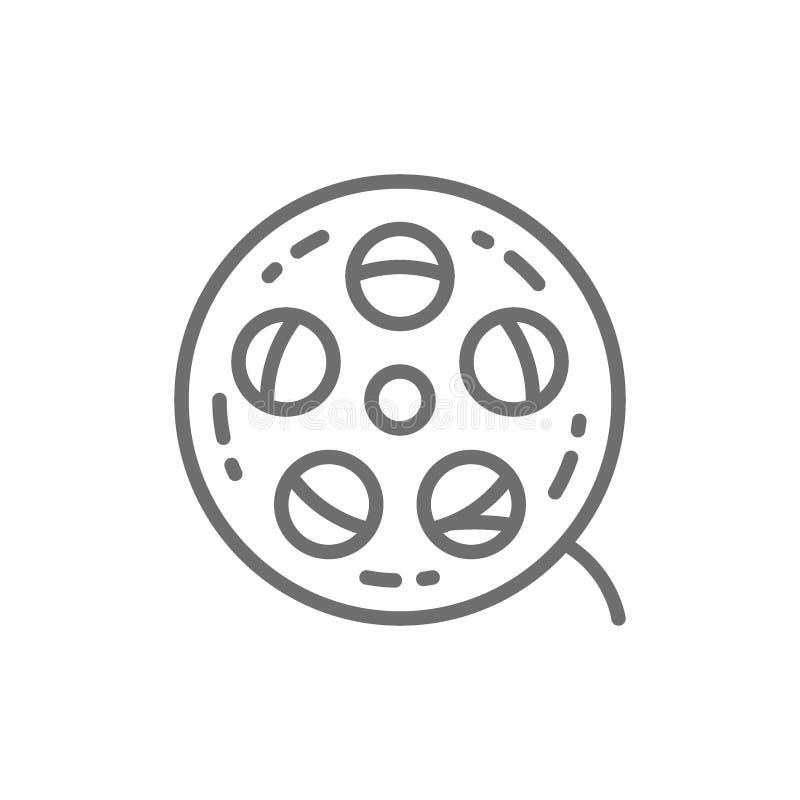 Movie reel, cinema roll, film strip line icon. vector illustration