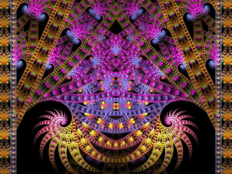 Movie Reel Double Spiral Flame Fractal. This flame fractal resembles a movie reel and has two spirals facing in opposite directions. The primary colors are pink vector illustration