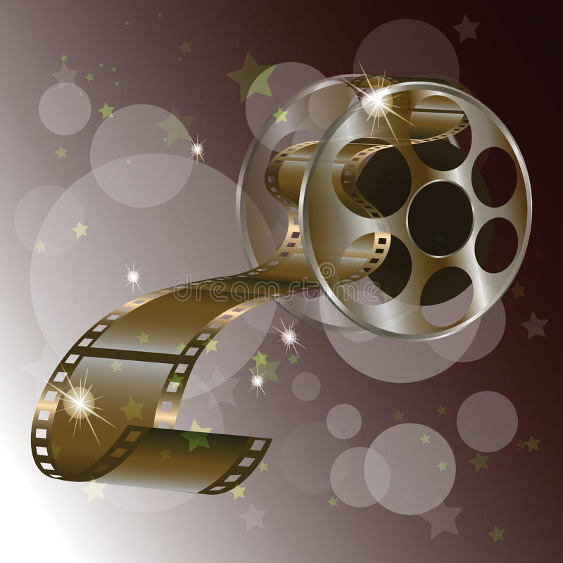 Movie reel film with stars concept ,vector isolated on red background. Movie reel film with stars concept,vector isolated on red background, vector stock illustration