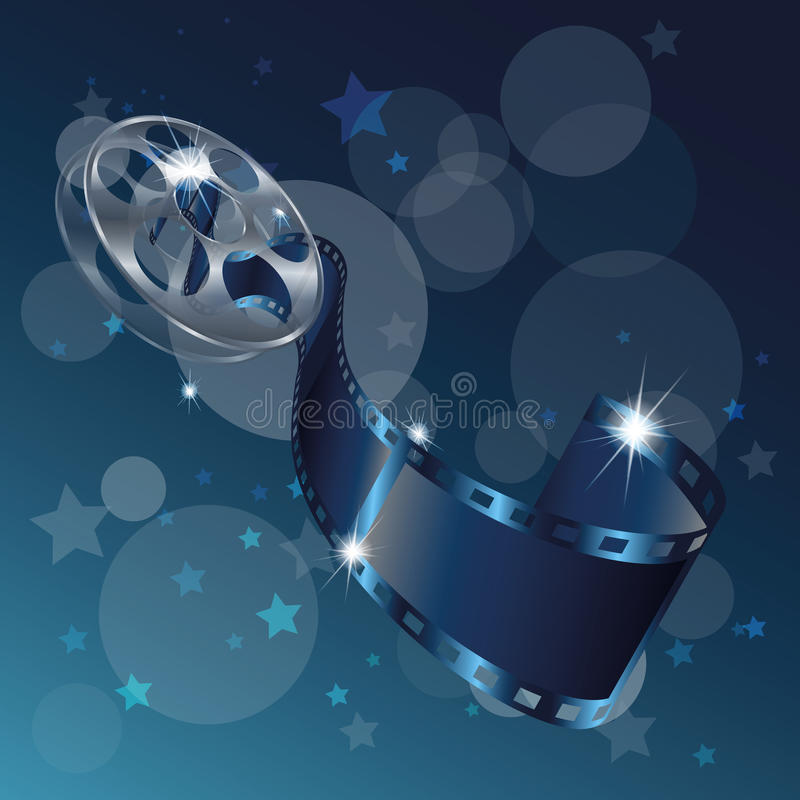 Movie reel film vector isolated on blue background. Vector vector illustration