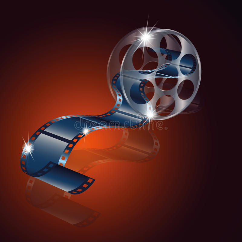 Movie reel film vector with reflection isolated on red background. Vector stock illustration