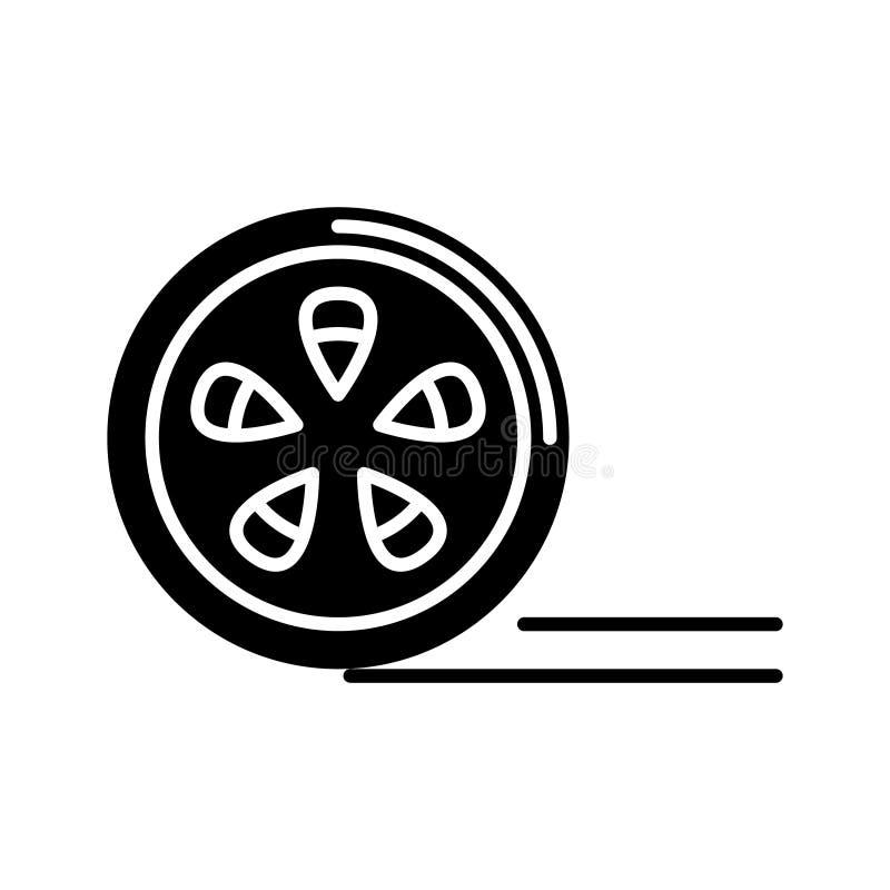 Movie reel icon, vector illustration, black sign on isolated background. Movie reel icon, illustration, vector sign on isolated background vector illustration