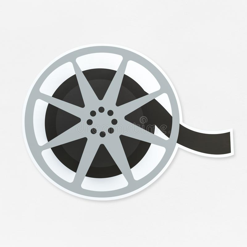 Movie reel icon isolated on background royalty free stock image