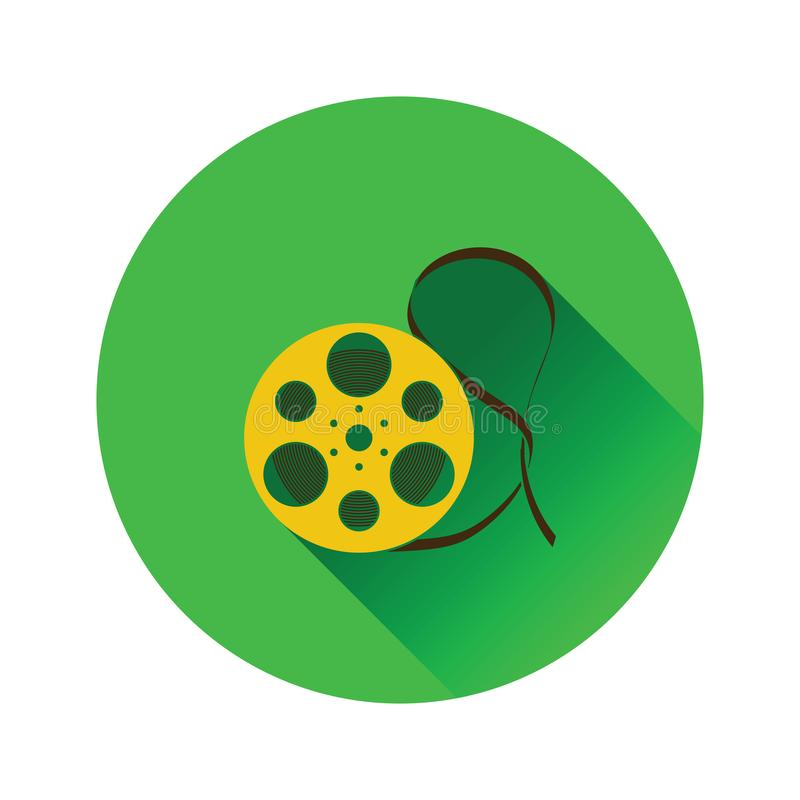 Movie reel icon. On gray background, round shadow. Vector illustration vector illustration