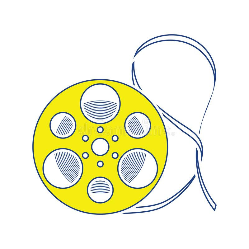 Movie reel icon. Thin line design. Vector illustration stock illustration