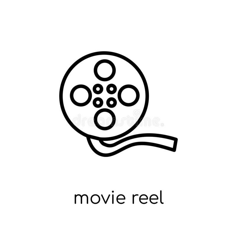 Movie reel icon. Trendy modern flat linear vector Movie reel icon on white background from thin line Cinema collection. Editable outline stroke vector vector illustration
