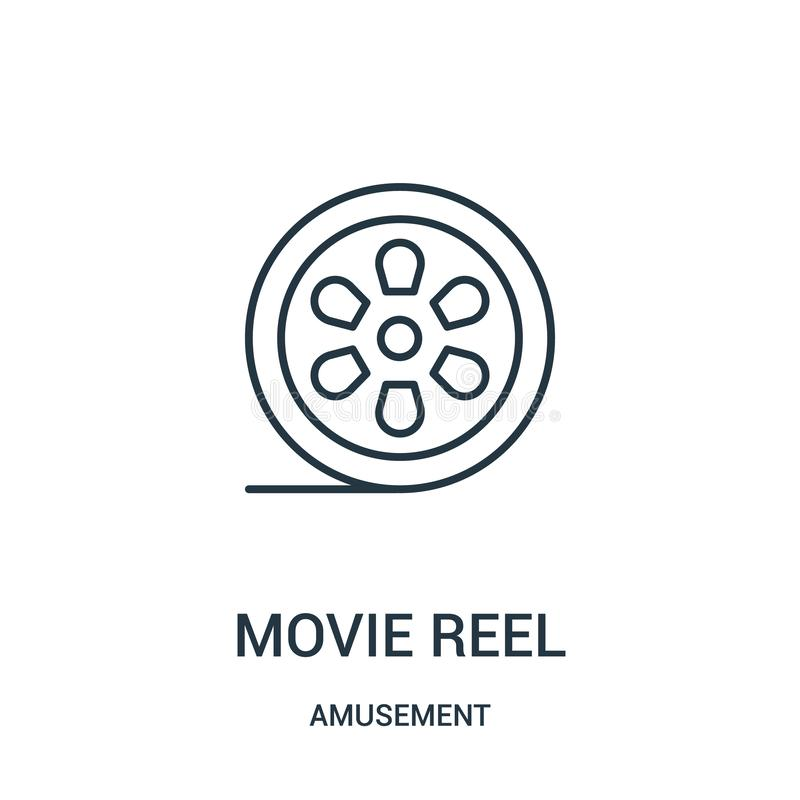 Movie reel icon vector from amusement collection. Thin line movie reel outline icon vector illustration. Linear symbol for use on web and mobile apps, logo vector illustration