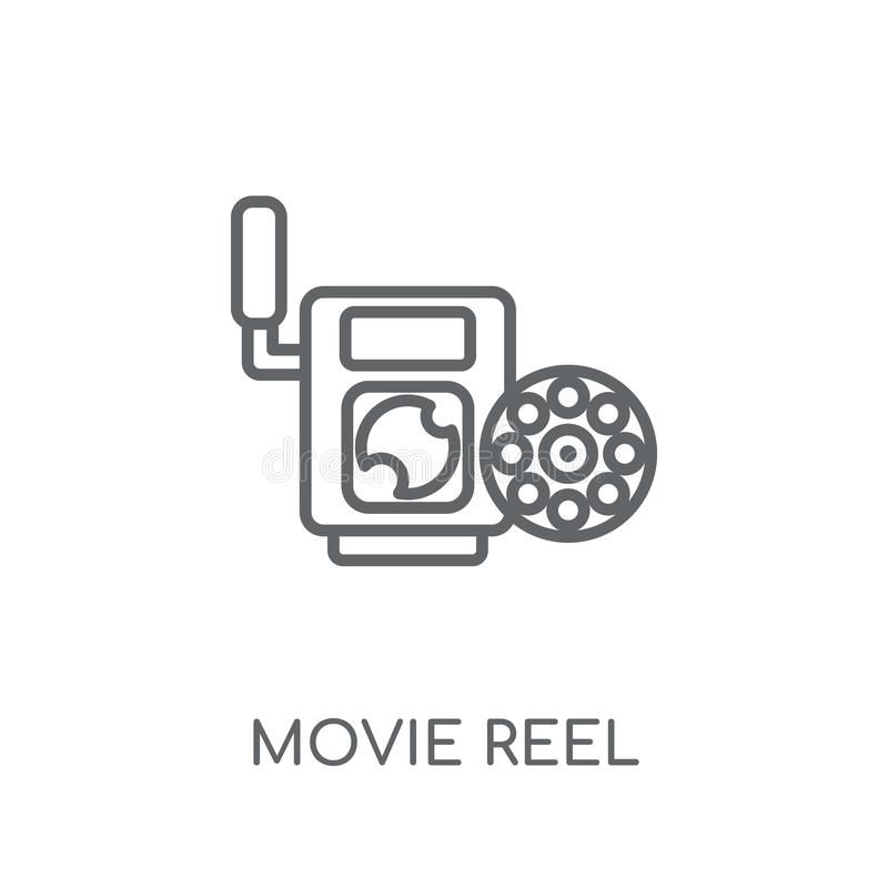 Movie reel linear icon. Modern outline Movie reel logo concept o. N white background from Cinema collection. Suitable for use on web apps, mobile apps and print stock illustration