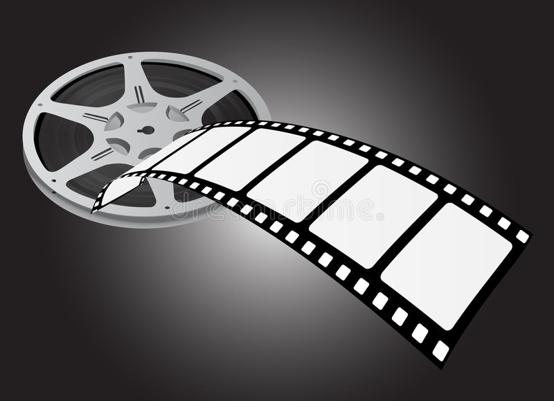 Movie reel vector. (film equipment stock illustration