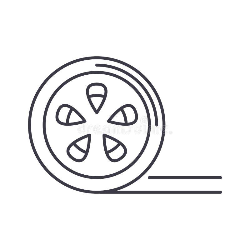 Movie reel vector line icon, sign, illustration on background, editable strokes. Movie reel vector line icon, sign, illustration on white background, editable royalty free illustration