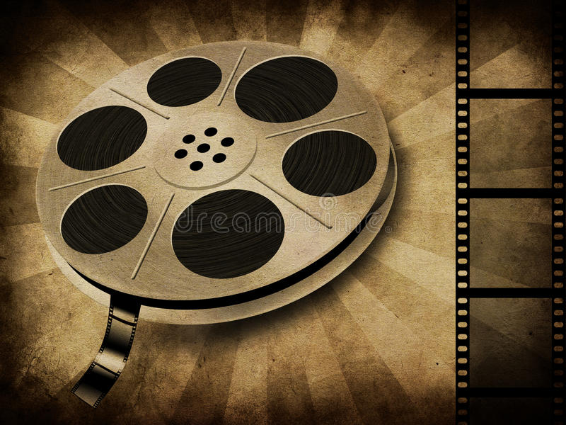 Movie reel on vintage. Grunge illustration of movie reel with tape on vintage background vector illustration