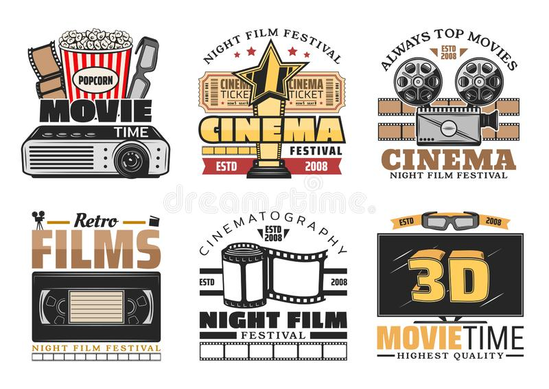 Cinema movie and festival vector retro icons. Movie, retro cinema, bar bistro vector icons. Vintage design of popcorn bucket, 3D glasses and film, camera and stock illustration