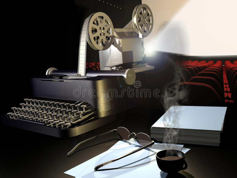 Movie script. A typewriter which creates a film that a projector shows on a cinema screen. A glass, a cup of coffee and some papers show that someone has been vector illustration