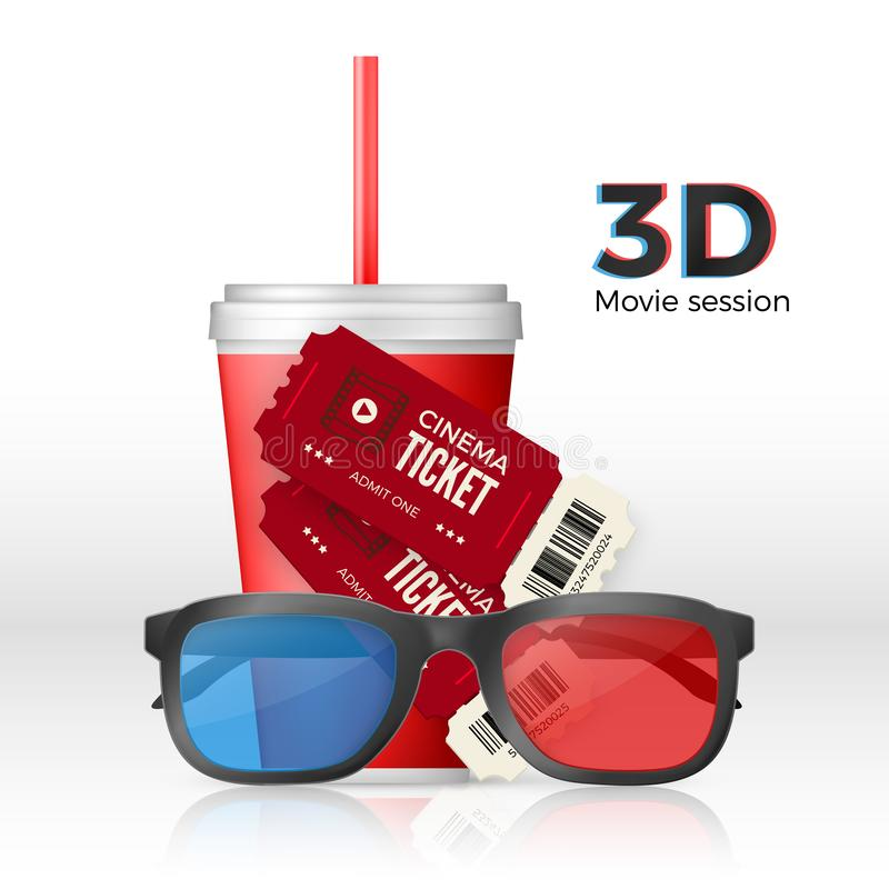 Movie set - 3D glasses tickets and cup of drink. Web banner or poster. Vector illustration royalty free illustration