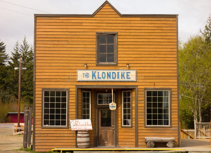 A movie set restaurant at a remote location in alaska. A wooden building used in a motion picture on display at the coastal town of haines stock photos