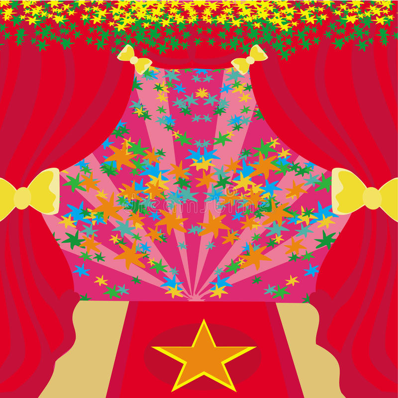 Movie star symbol on a red carpet representing Hollywood premier royalty free illustration