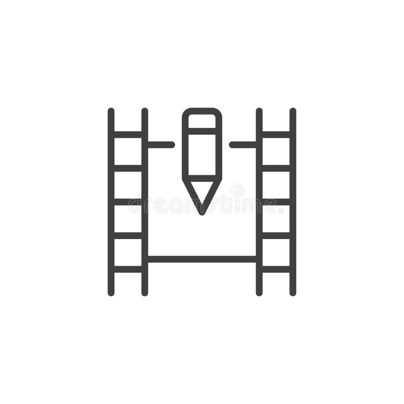 Movie tape and pen outline icon. Linear style sign for mobile concept and web design. Edit film video simple line vector icon. Symbol, logo illustration. Pixel stock illustration