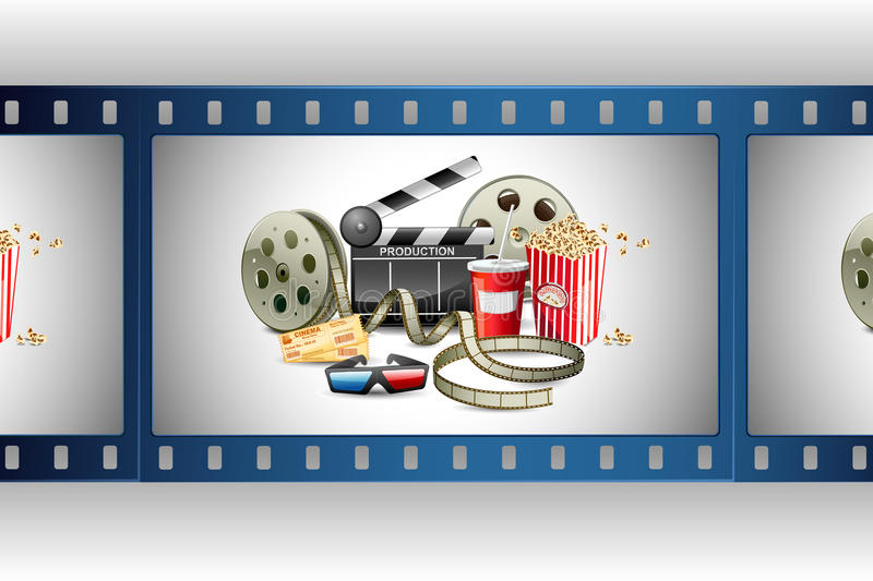 Movie Template. Illustration of colorful film reel with pop corn,reel and clapper board vector illustration