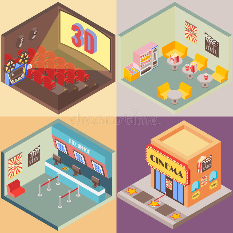 Movie theater building in isometric style design. Vector flat 3d icons. Interior of cinema, cafe, ticket office.  royalty free illustration
