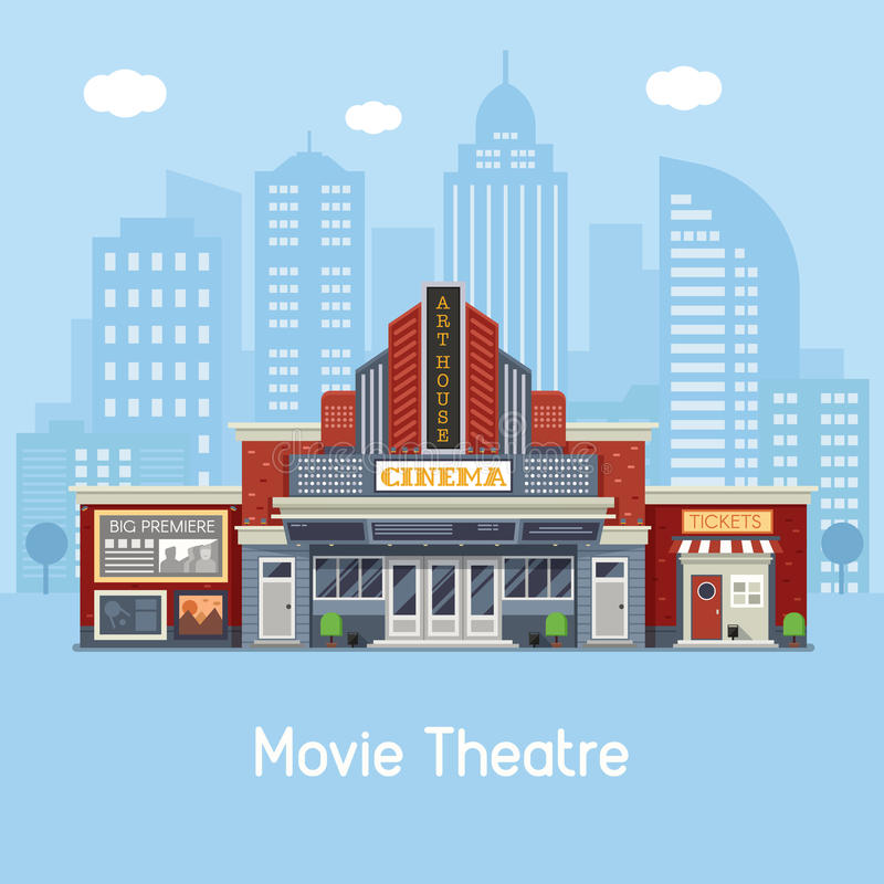 Movie Theater Building. Modern cinema building facade with sign boards and ticket office on downtown background. Movie theater exterior vector illustration. Web stock illustration