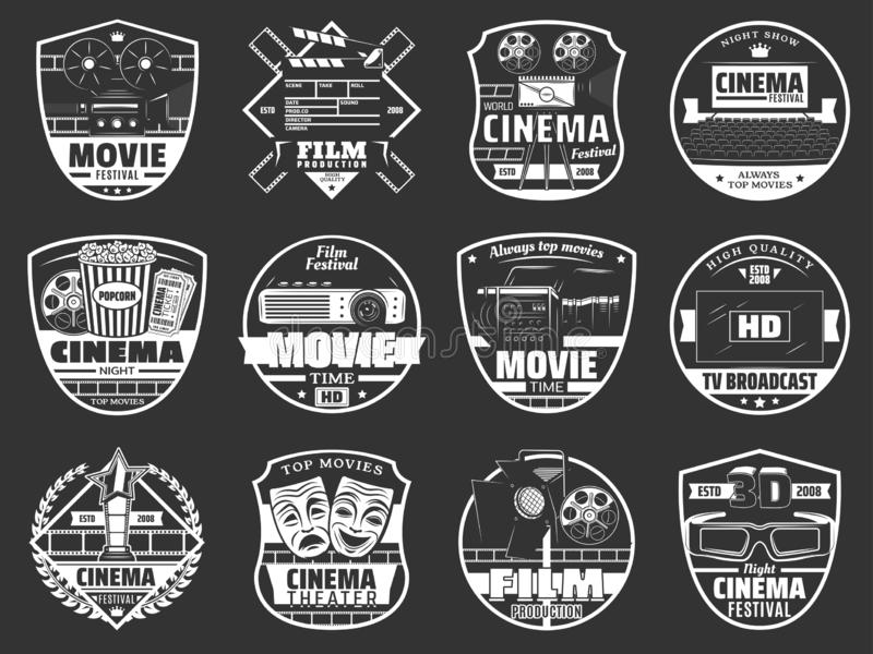 Movie theater, cinema festival and TV broadcast. Movie festival, cinema theater premiere night and TV broadcast company. Vector cinematography icons of movie vector illustration