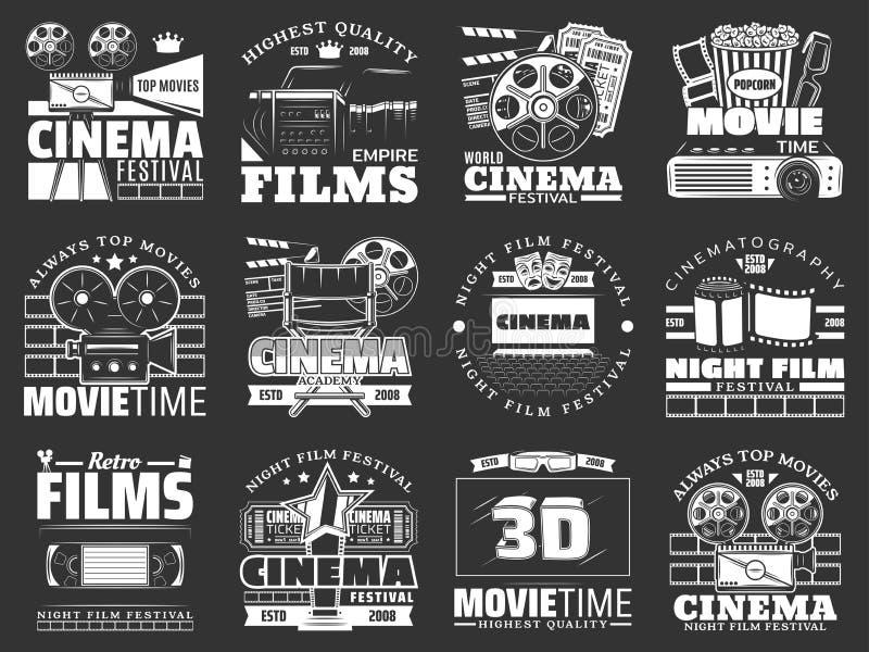Movie theater, cinema film reel, camera, popcorn vector illustration