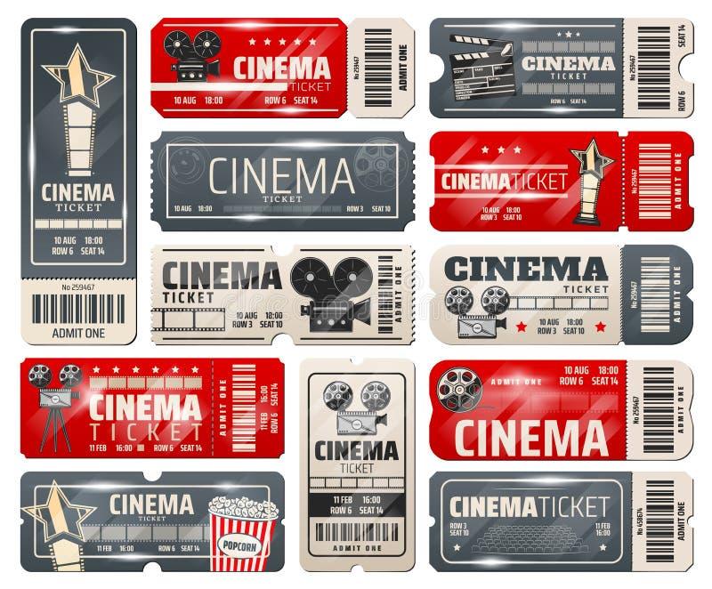 Movie theater, cinema retro vintage tickets royalty free illustration