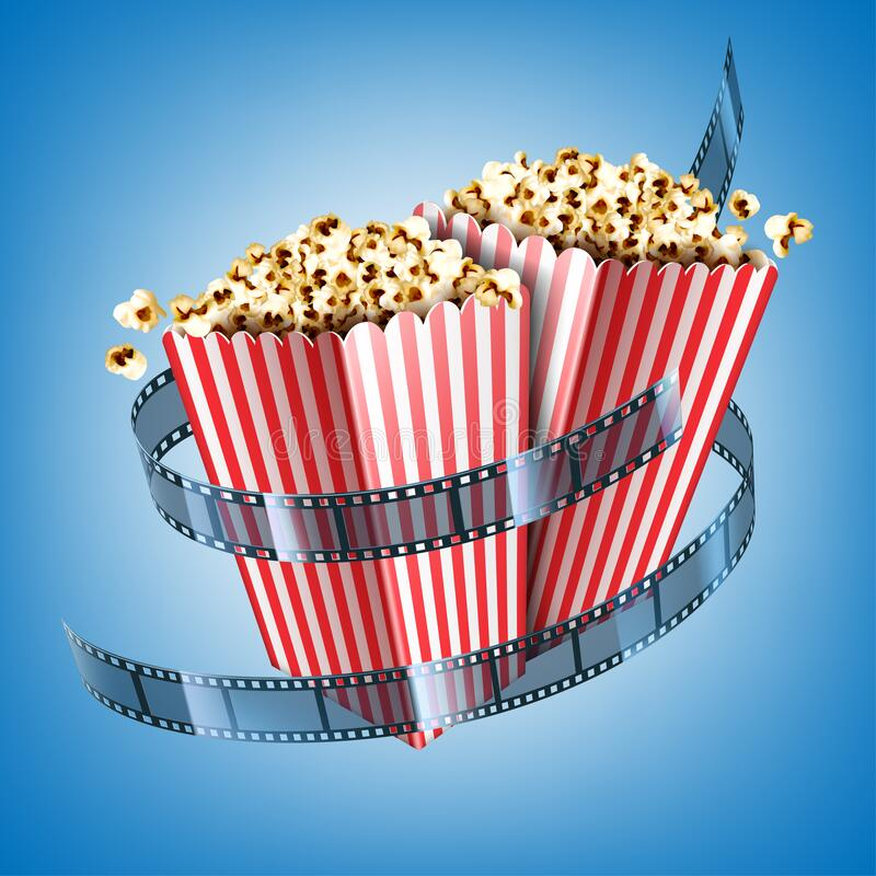 Free Movie Theater Flyer With Film Strip And Popcorn Stock Image - 191989291
