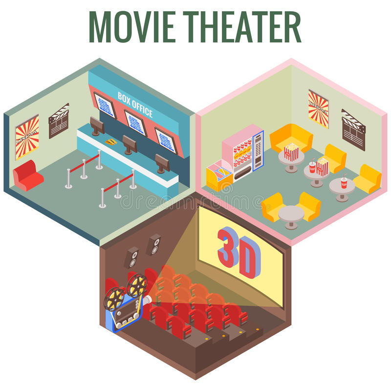 Movie theater in isometric style design. Vector flat 3d icons. Interior of cinema, cafe, ticket office.  stock illustration