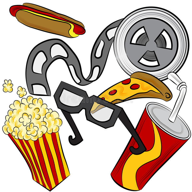 Movie Theater Objects. An image of a film reel, 3d glasses and movie theater food royalty free illustration