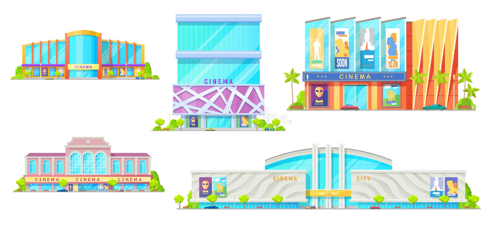 Movie theater vector isolated cinema buildings. Cinema buildings isolated facade exteriors. Vector modern movie theater with entrance and parking zone, cars and royalty free illustration