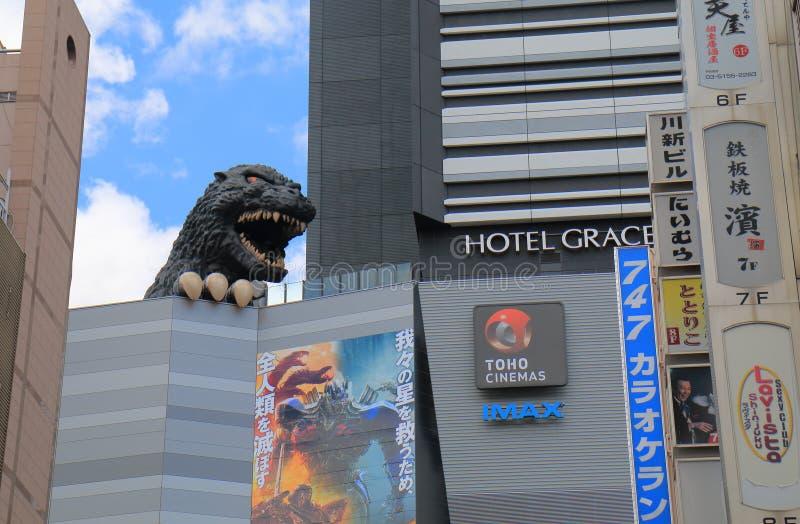 Movie theatre cinema Shinjuku Tokyo Japan. Godzilla statue at Toho cinemas Shinjuku in Tokyo Japan. TOHO Cinemas is a Japanese film, theatre production and royalty free stock photography