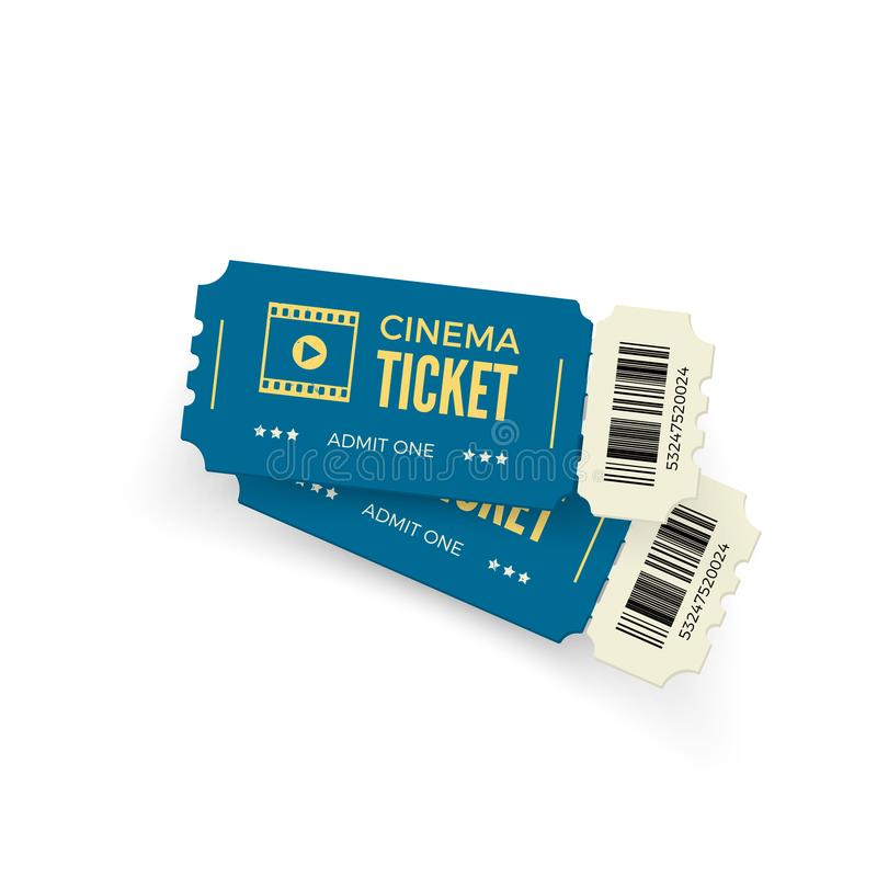 Movie ticket. Blue cinema tickets isolated on white background. Realistic cinema ticket template. Vector illustration royalty free illustration