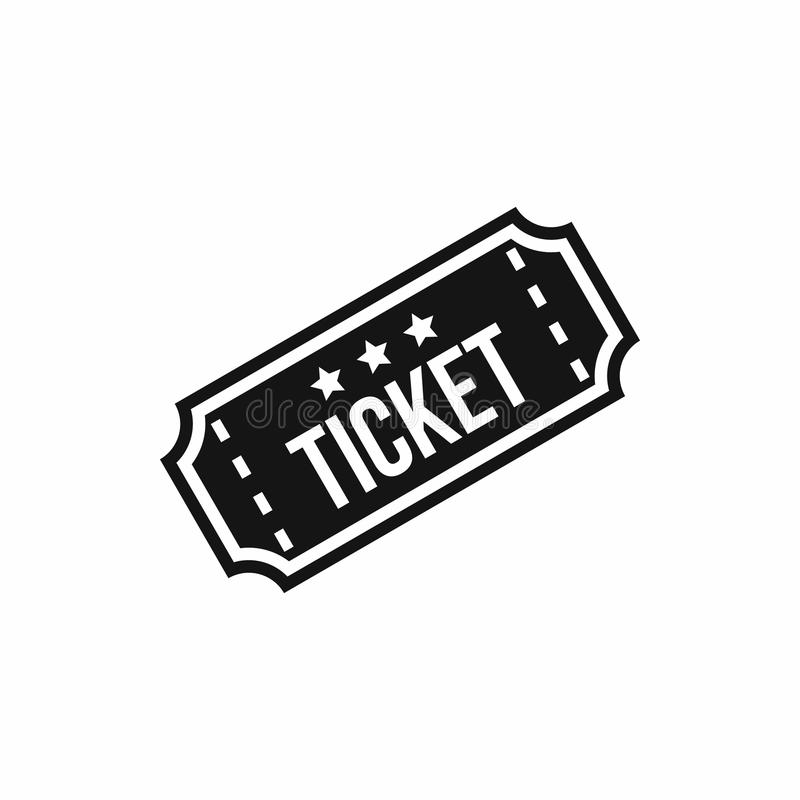 Movie ticket icon, simple style royalty free illustration