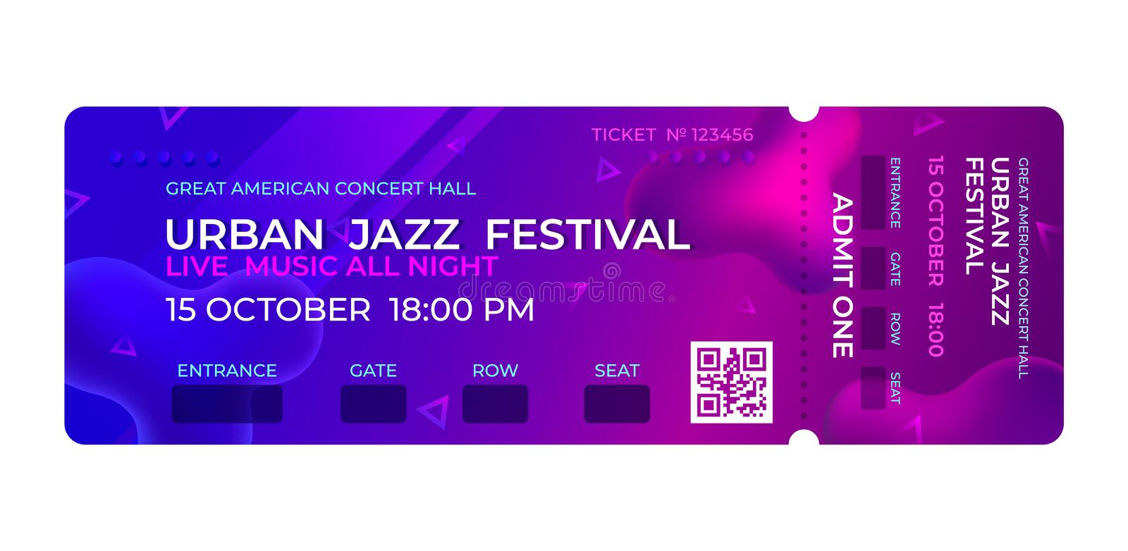 Movie ticket. Music concert, party event entrance ticket design. Invitation vector template royalty free illustration