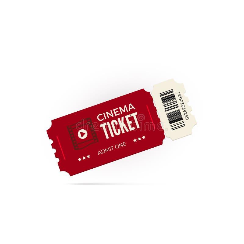 Movie ticket. Red cinema ticket isolated on white background. Vector illustration stock illustration