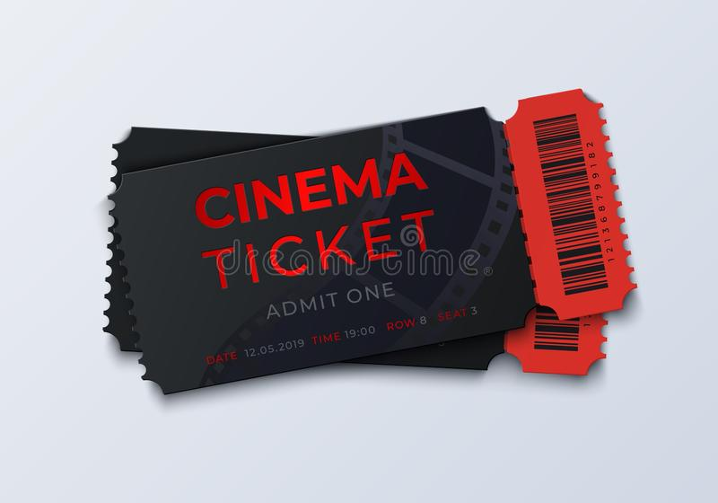Movie ticket template. Realistic cinema theater admission pass mockup, 3D festival and performance coupon. Vector retro vector illustration