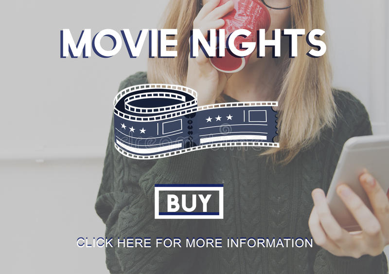 Movie Tickets Nights Audience Cinema Theater Concept stock images