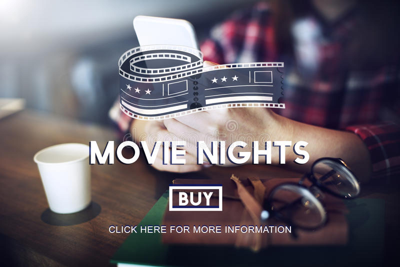 Movie Tickets Nights Audience Cinema Theater Concept stock photography