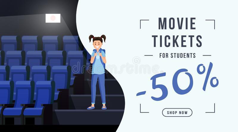 Movie tickets sale web banner template. Schoolkid visiting cinema with 50 percent ticket cost discount. Movie theater royalty free illustration