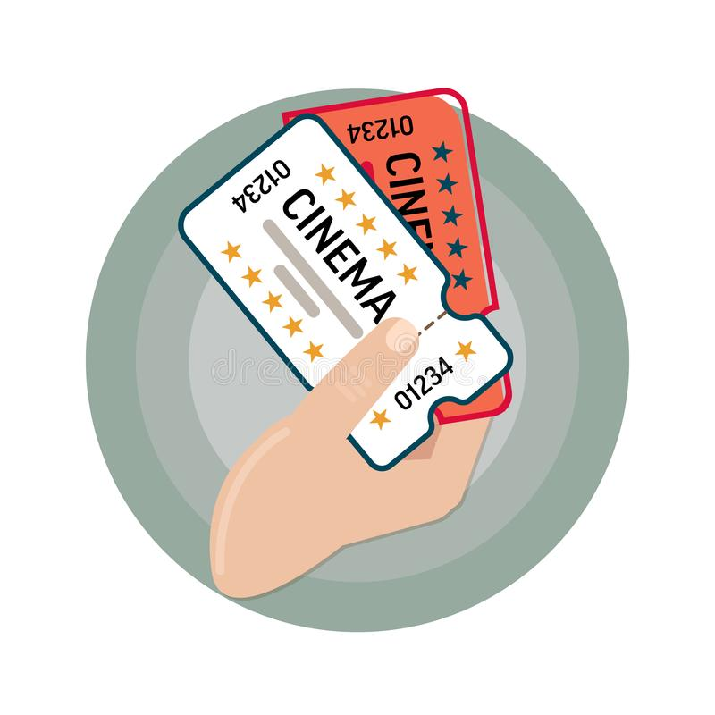 Vector image icons. Movie tickets. Two tickets to the cinema in his hand. Cartoon style or flat royalty free illustration