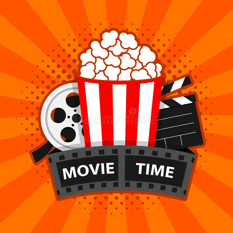 Movie time. Cinema poster concept vector illustration. Composition with popcorn, clapperboard. banner design for movie theater. Eps 10 royalty free illustration