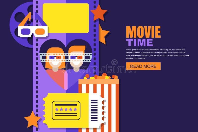 Date at the cinema illustration. Design for cinema festival poster, sale tickets banner, flyer, coupon. vector illustration