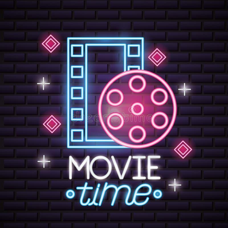 Movie time neon. Film reel strip movie time neon vector illustration royalty free illustration