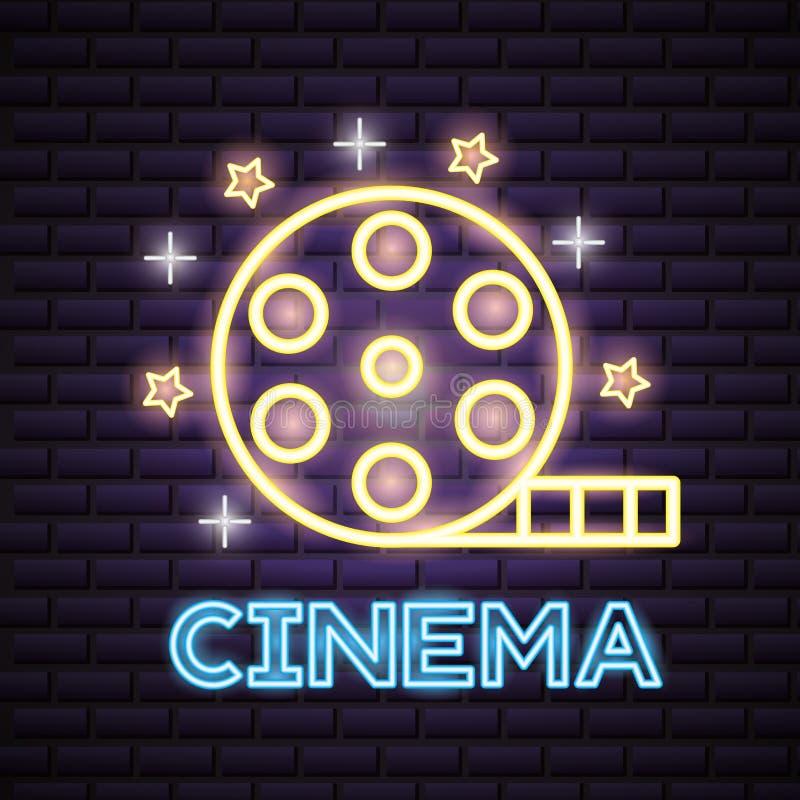 Movie time neon. Film reel strip movie time neon vector illustration stock illustration