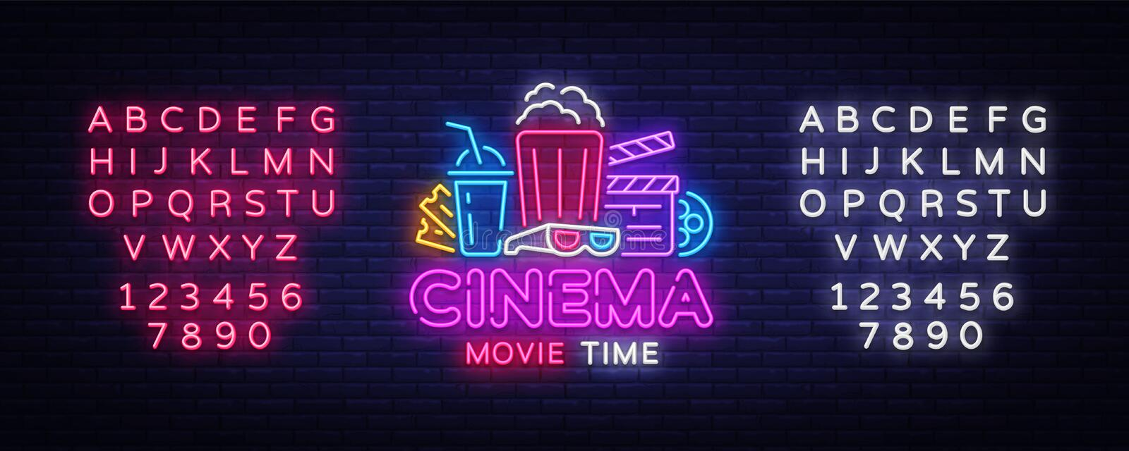 Movie Time Neon Logo Vector. Cinema Night neon sign, design template, modern trend design, night neon signboard, night vector illustration