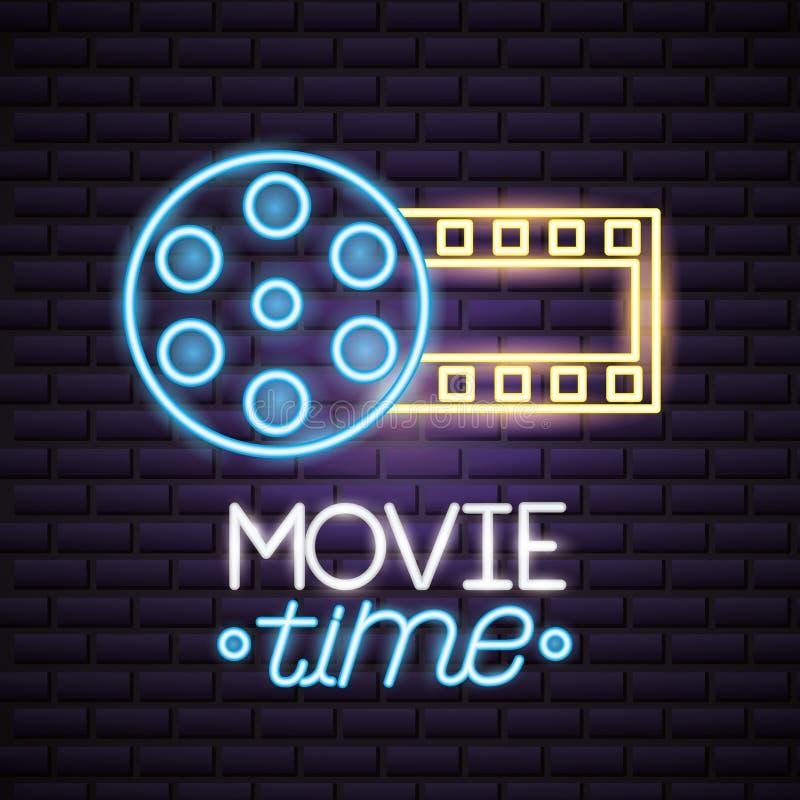 Movie time neon. Strip film reel movie time neon vector illustration vector illustration