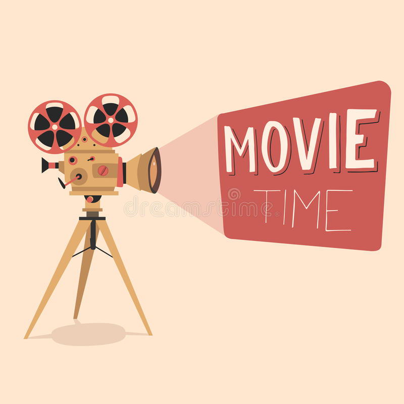 Movie time poster. Cartoon vector illustration. Cinema motion picture stock illustration